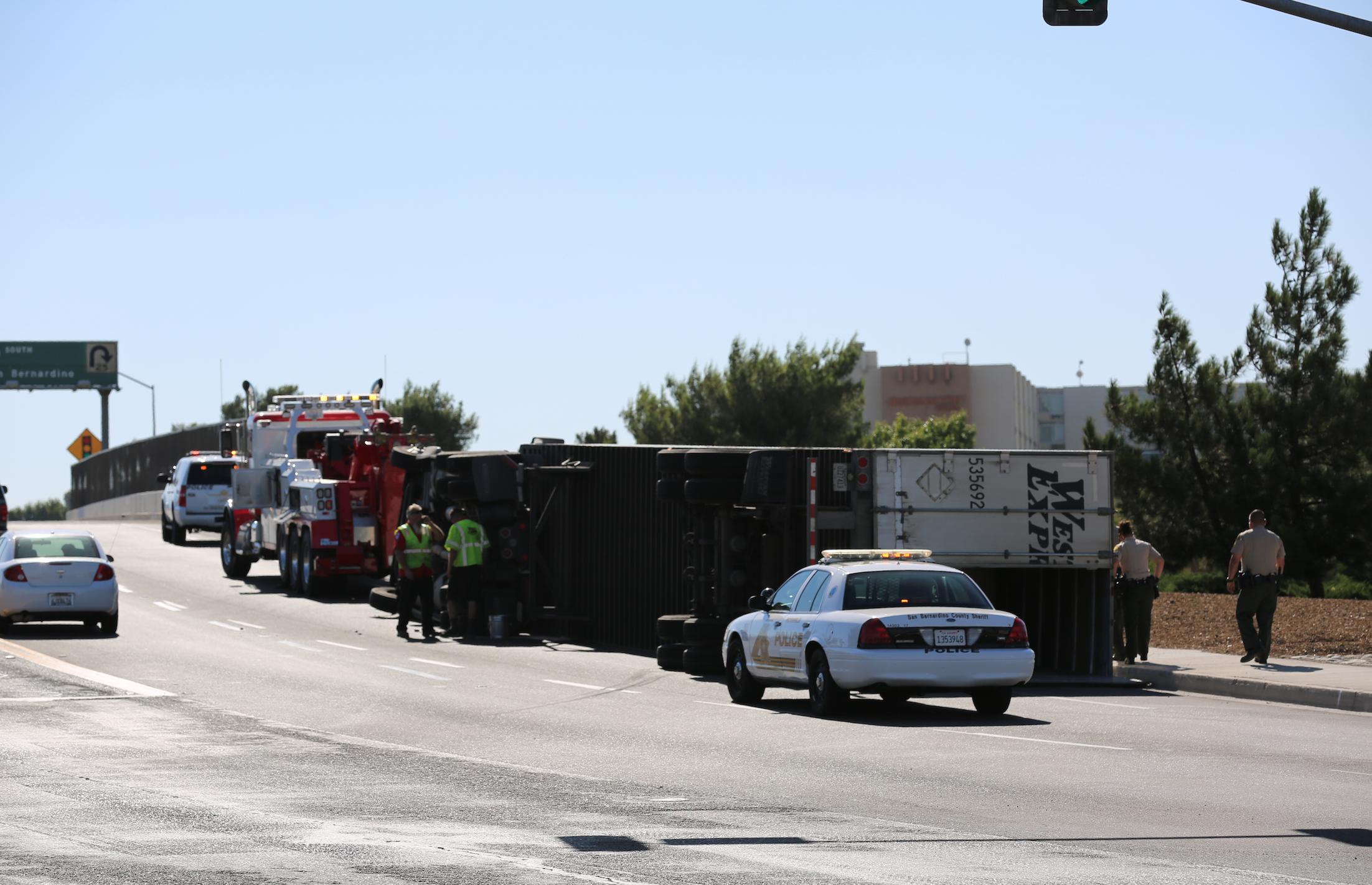 truck overturned