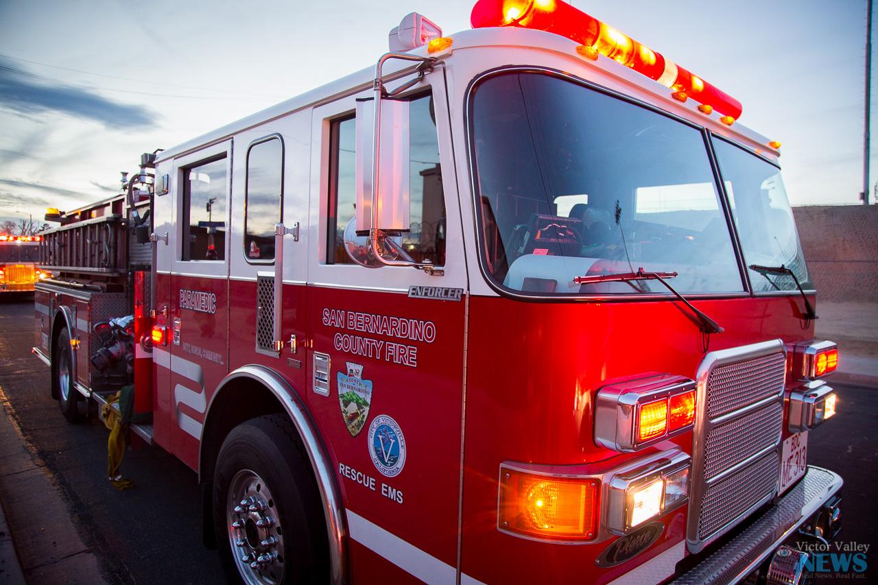 (File Photo of Medic engine 313 of the San Bernardino County Fire Department- Gabriel D. Espinoza, Victor Valley News- Jan. 2016)