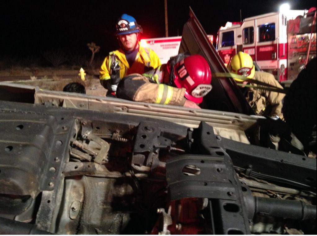 San Bernardino firefighters respond to traffic collision with extrication.