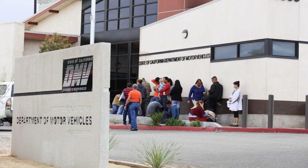 A file photo of a line outside the Victorville DMV office taken October 2016. (Hugo C. Valdez, Victor Valley News)