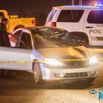 A silver Honda Civic struck a pedestrian, sustaining major damage. (Gabriel D. Espinoza, Victor Valley News)