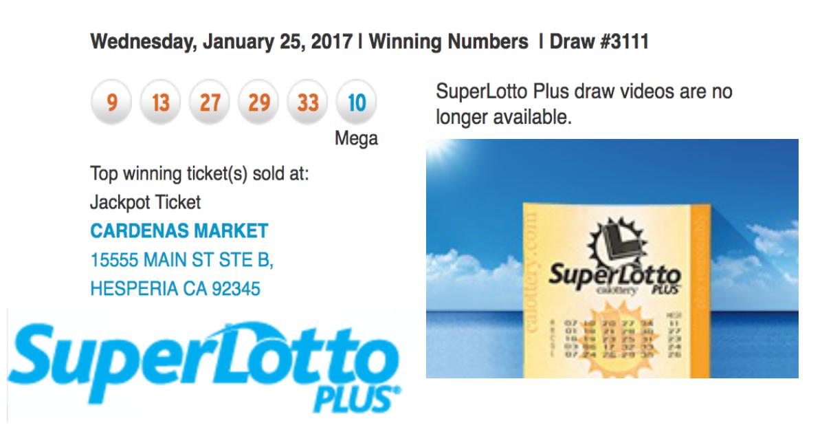 72 Million Dollar CA Superlotto ticket sold in Hesperia CA