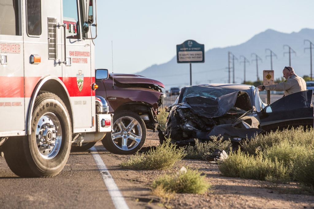 The head-on crash happened Sunday on Mariposa Road in Hesperia. (Gabriel D. Espinoza, Victor Valley News)