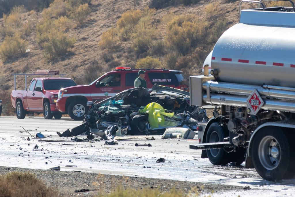 The driver of a blue Subaru was pronounced deceased on scene. (Gabriel D. Espinoza, Victor Valley News)