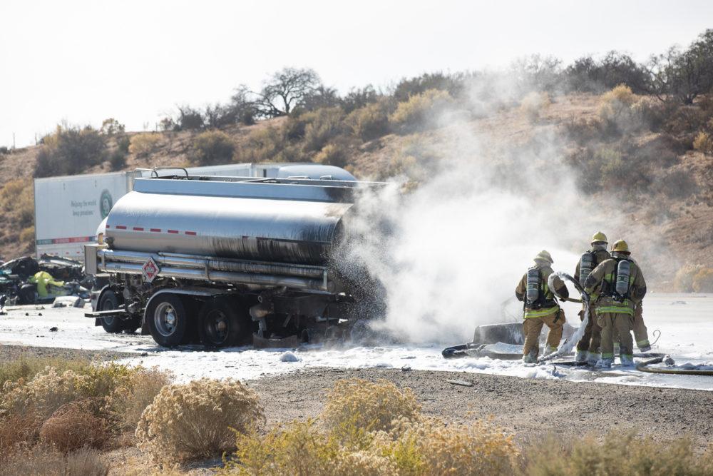 One person was killed in a crash involving a tanker truck Saturday in Hesperia. (Gabriel D. Espinoza, Victor Valley News)