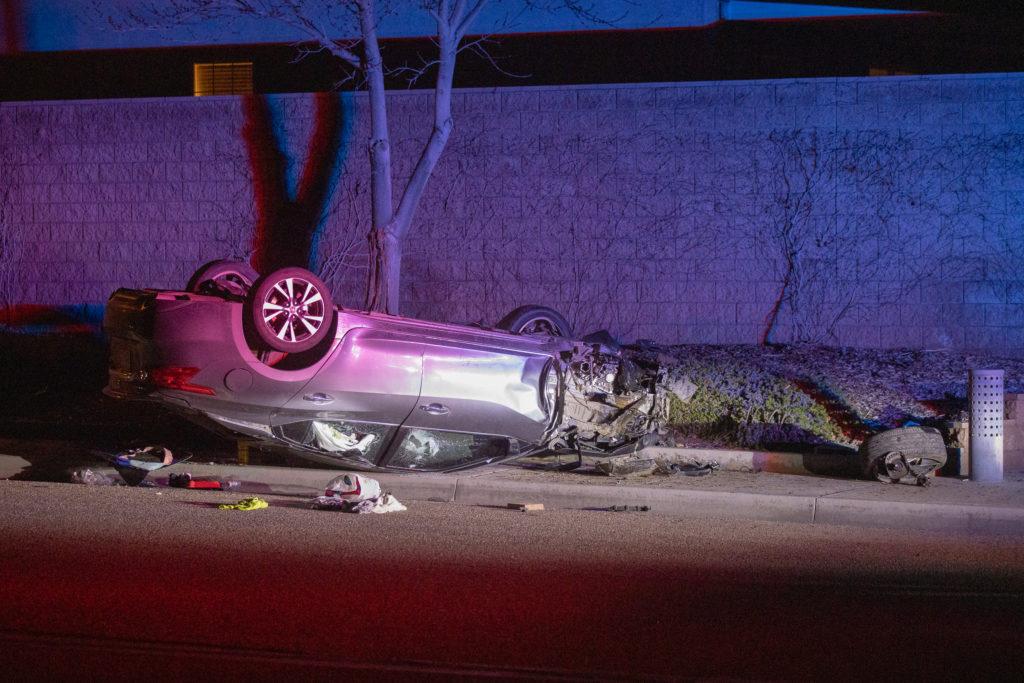Suspected driver crashed after fleeing the scene.(Hugo C. Valdez, Victor Valley News)