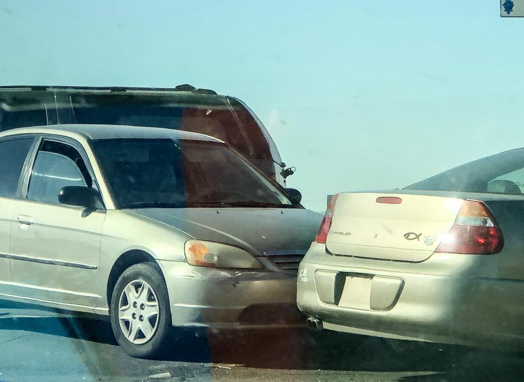 Three car crash in Hesperia. (Photo: Elijah Hijar for Victor Valley News)
