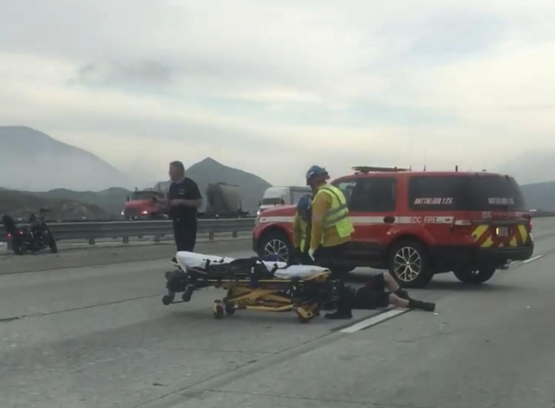 Motorcycle crash blocks 3 lanes on 15 freeway southbound in Cajon