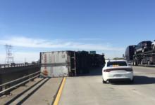 Photo of Damaging Santa Ana winds topple over semis on the 15 freeway