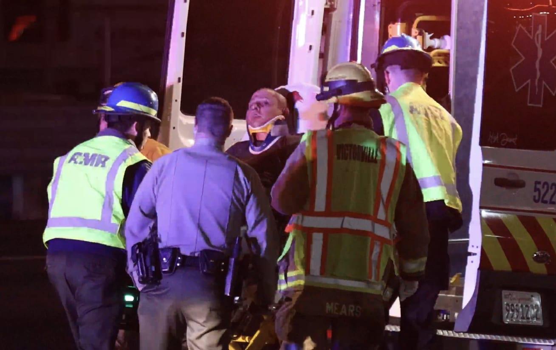 A suspect was injured after crashing. (Gabriel D. Espinoza)