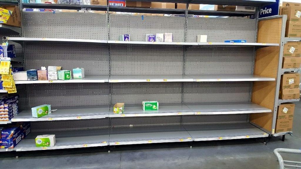 The Kleenex shelve at Walmart on Highway 395 in Victorville.  (photo by Shanon Margolis-Hernandez)