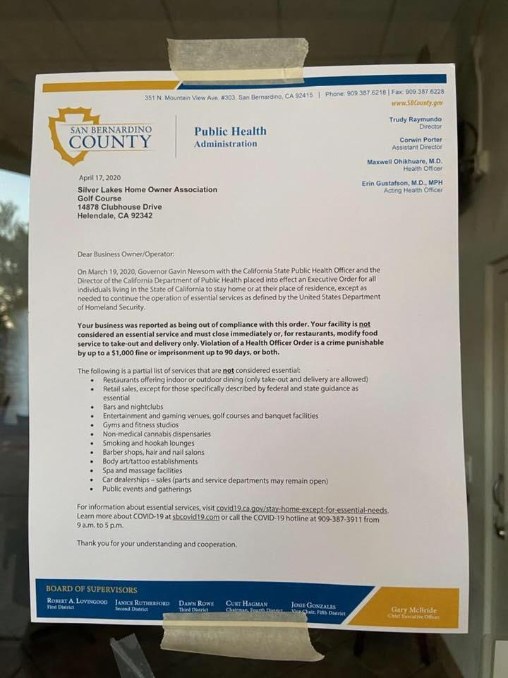 San Bernardino County Notice to close golf course