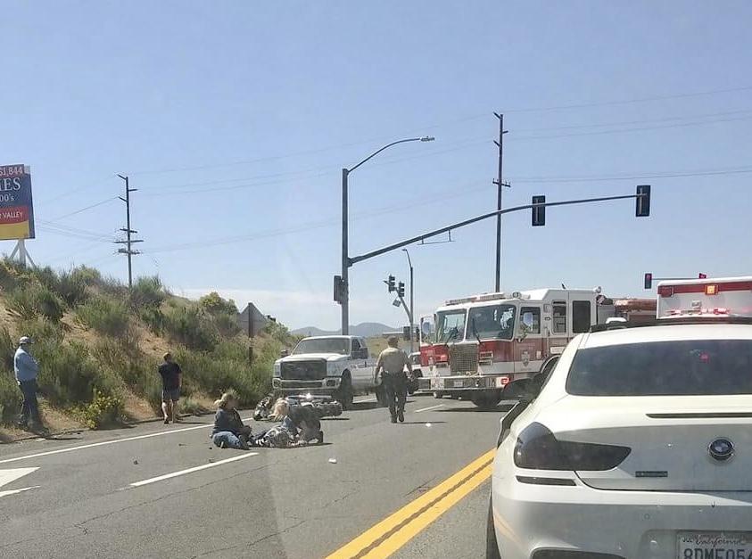 Motorcycle crash on Highway 395 in Hesperia