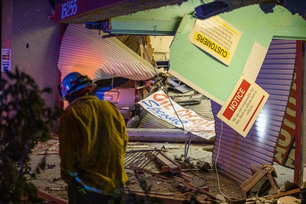SUV slams into building victorville