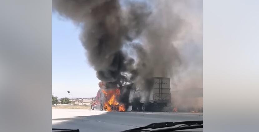 truck fire 15 freeway