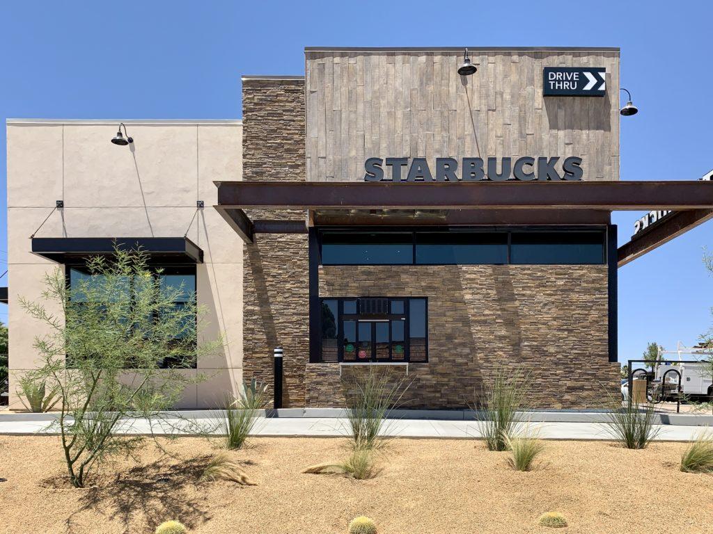 The drive-thru window of the all-new Starbucks across the street from St. Mary's Hospital. (Hugo C. Valdez, VVNG.com)