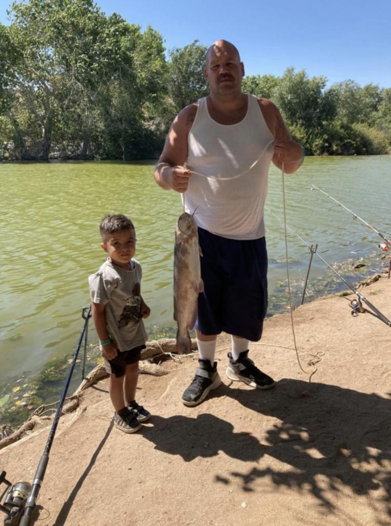 Albert Franklin from San Bernardino landed a beautiful 8lb catfish using shrimp and nightcrawlers at Grassy Bank.
