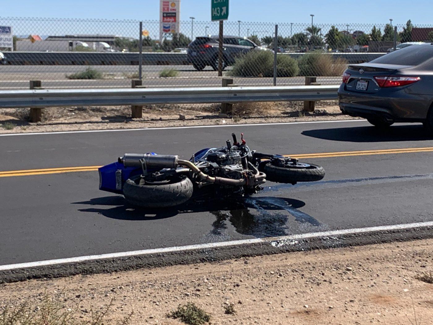motorcycle rider injured in crash on Hesperia Road