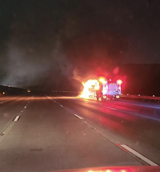RV fire on 15 freeway