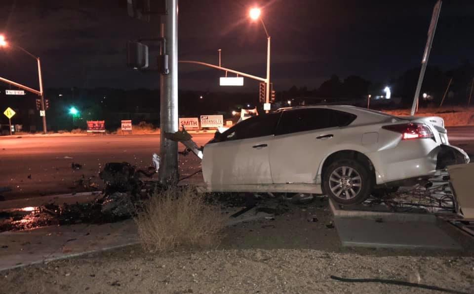 major injury crash on Rock Springs Rd in Hesperia