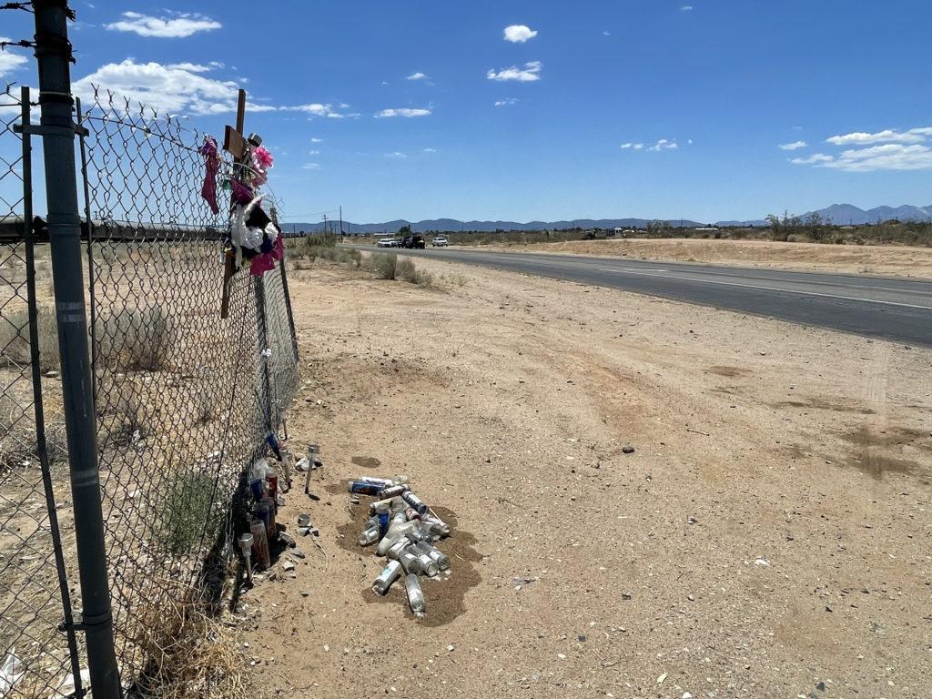The fatal motorcycle accident happened in between two existing roadside memorials along Hesperia Road. (Hugo C. Valdez, VVNG.com)