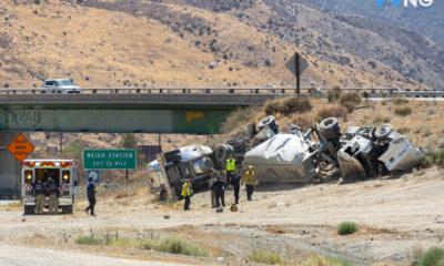 cajon pass crash overturned semi