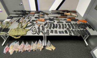 Deputies arrest Vincent Medina for false imprisonment, assault, and being a felon in possession of 22 firearms