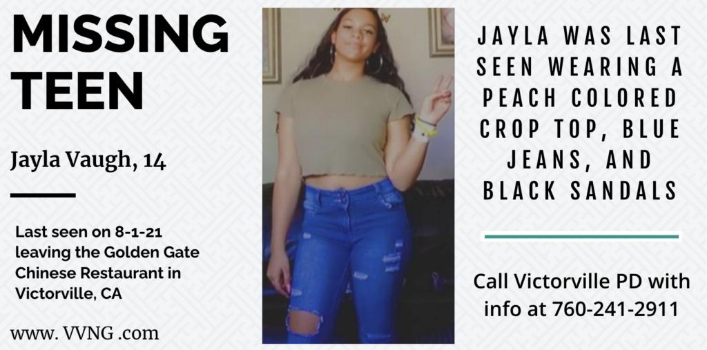 MISSING PERSON: Jayla Vaugh, 14