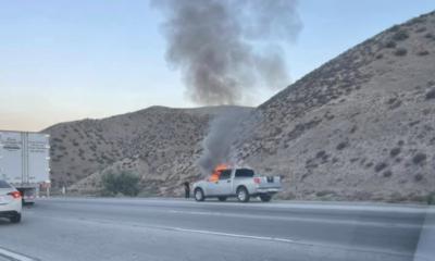 Nissan Titan truck fire in cajon pass