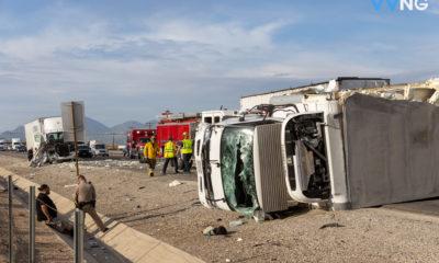 a crash involving a semi and a box truck on the 15 freeway in Hesperia